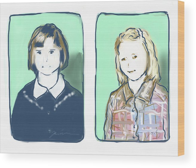 Portrait Wood Print featuring the digital art Awkwardness Of Youth by Jean Pacheco Ravinski