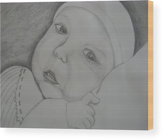 Baby Wood Print featuring the drawing Baby Girl Horizontal by Theodora Dimitrijevic