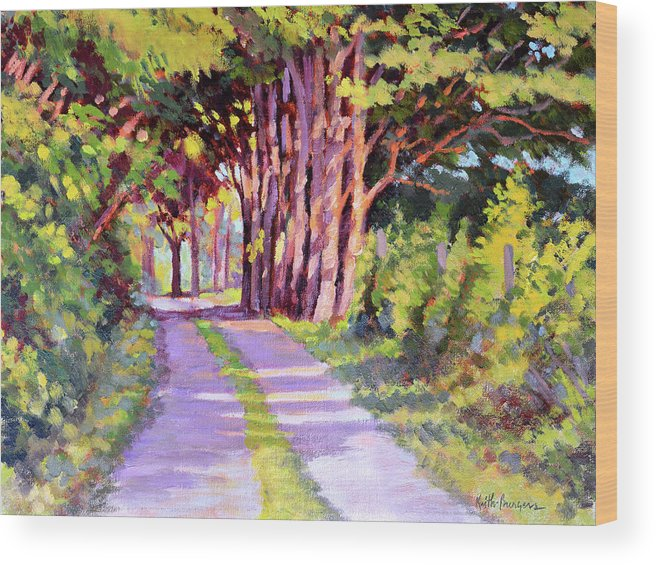 Road Wood Print featuring the painting Backroad Canopy by Keith Burgess