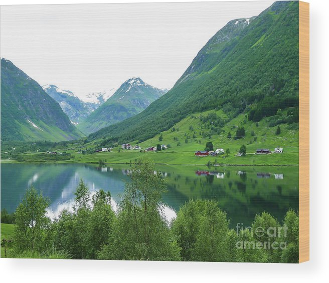 Balestrand Norway Wood Print featuring the photograph Balestrand Lake Village by Norma Brandsberg