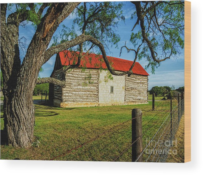 Crabapple Creek Ranch Wood Print featuring the photograph Barn With Red Metal Roof by Fred Adsit