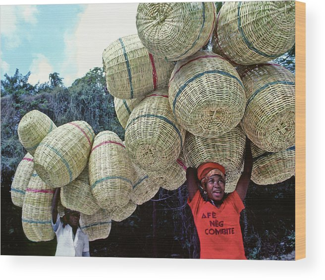 Haiti Wood Print featuring the photograph Basket Lady by Johnny Sandaire