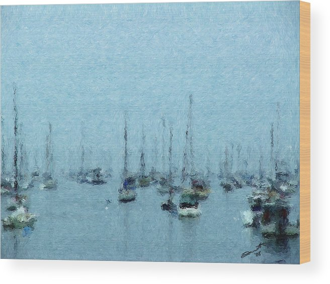 Sail Boats Marblehead Mass Harbor Sailing Anchored Bay Sea Wood Print featuring the painting Bateaux Au Repos by Eddie Durrett