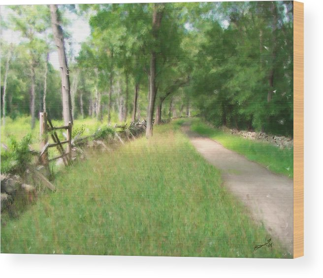 Concord American Revolution Bloody Angle British Colonists 1775 Stone Walls Rural New England Wood Print featuring the painting Battle Trail by Eddie Durrett