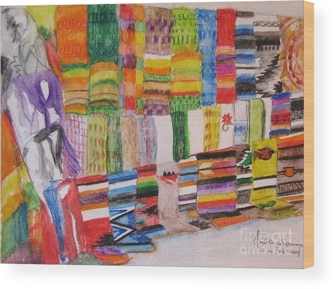 Bright Colors Wood Print featuring the painting Bazaar Sabado - Gifted by Judith Espinoza