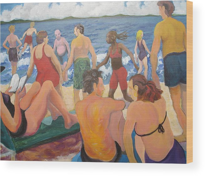 People Wood Print featuring the painting Beach Day by Rufus Norman