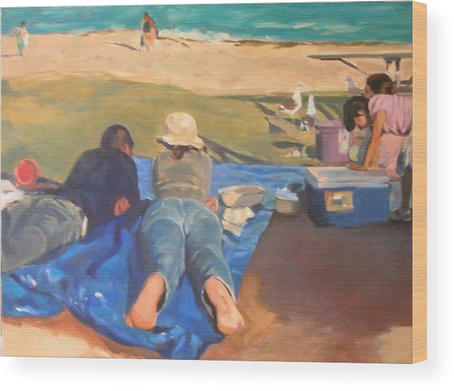 Beach Wood Print featuring the painting Beach Picnic by Merle Keller