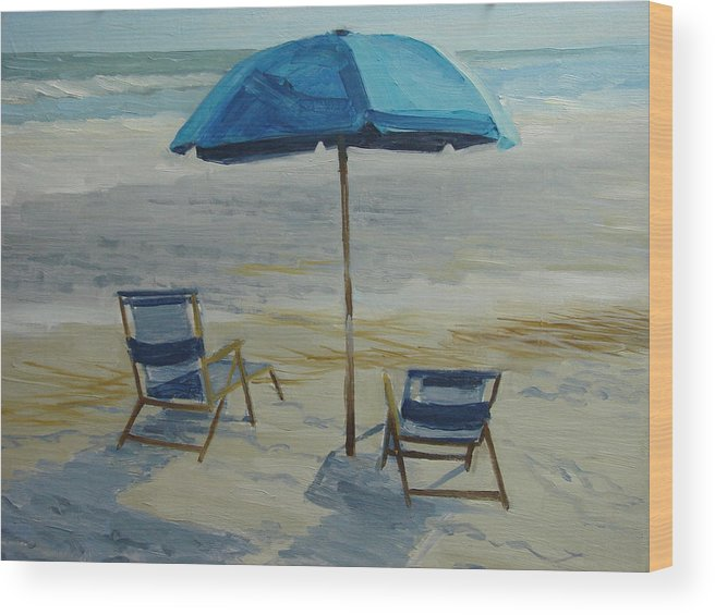 Beach Wood Print featuring the painting Beach Umbrella - Hilton Head by Robert Rohrich