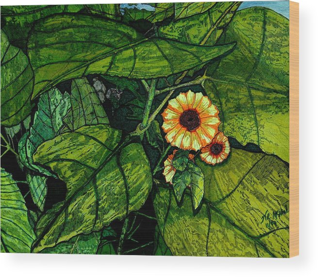 Landscape Wood Print featuring the painting Beauty In The Midst by Willie McNeal