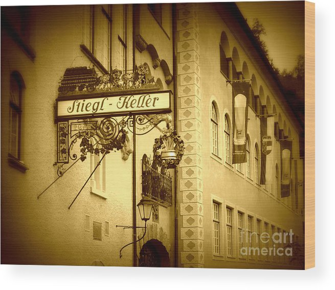 Beer Hall Wood Print featuring the photograph Beer Cellar In Salzburg by Carol Groenen