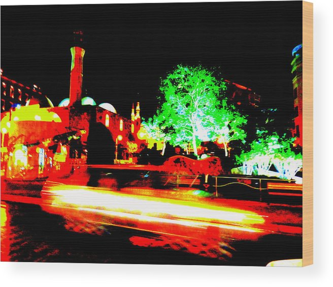 Lebanon Wood Print featuring the photograph Beirut By Night by Funkpix Photo Hunter