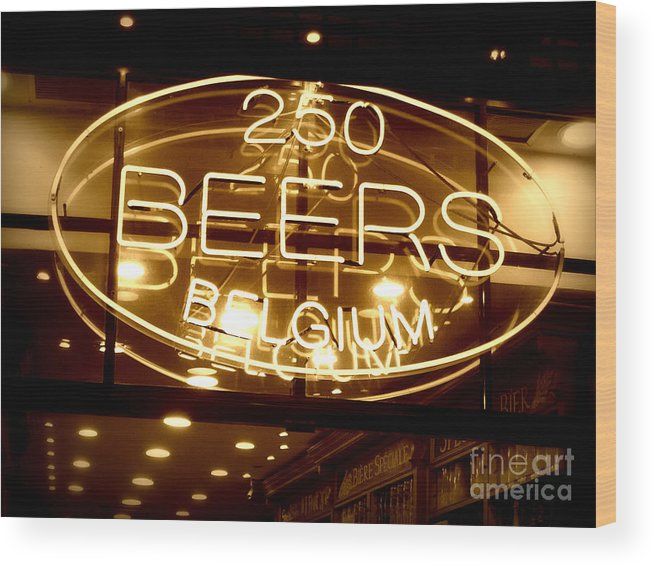 Home Bar Wood Print featuring the photograph Belgian Beer Sign by Carol Groenen