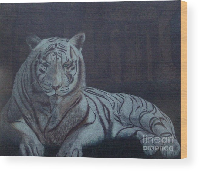 Wild Live Wood Print featuring the painting Bengala Tiger by Fanny Diaz