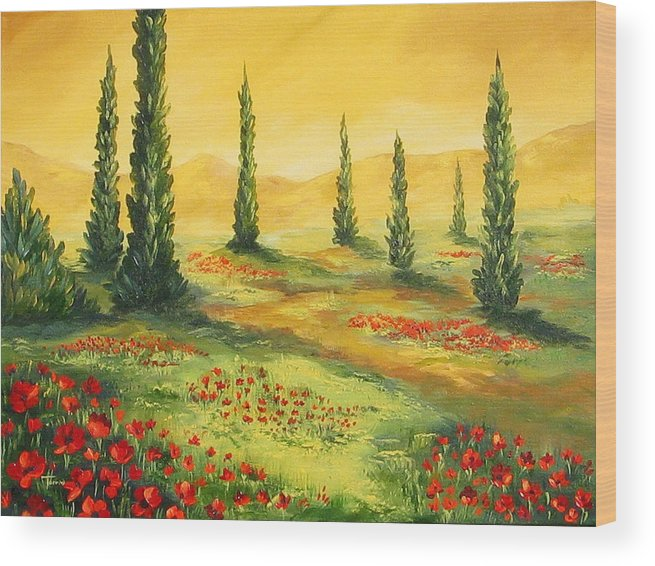 Tuscan Wood Print featuring the painting Beyond The Tuscan Sun by Torrie Smiley