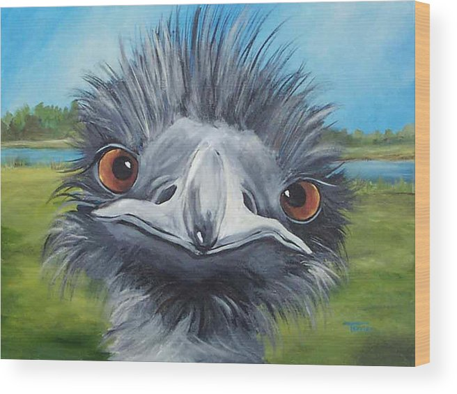 Emu Wood Print featuring the painting Big Bird - 2007 by Torrie Smiley