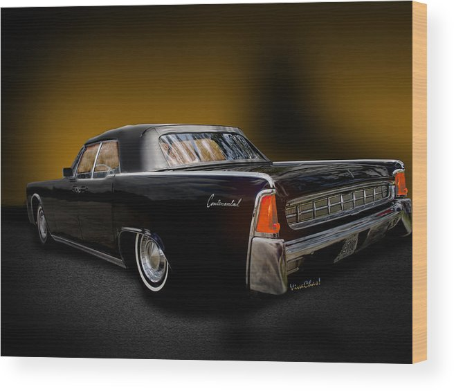 Black; Lincoln; 59; Convertible; Rag Top; Car; Vintage; Formal; Continental; Sinklier; Vivachas Wood Print featuring the photograph Big Black Lincoln Rag Top by Chas Sinklier