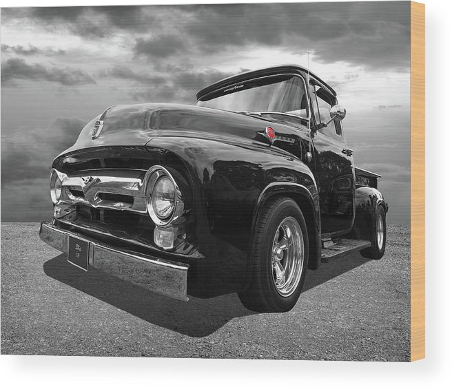 Ford F100 Wood Print featuring the photograph Black Beauty - 1956 Ford F100 by Gill Billington