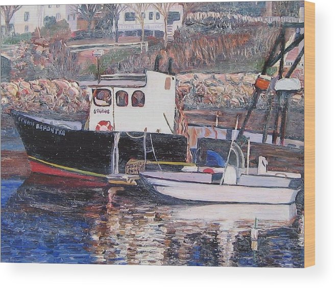 Boat Wood Print featuring the painting Black Boat Reflections by Richard Nowak