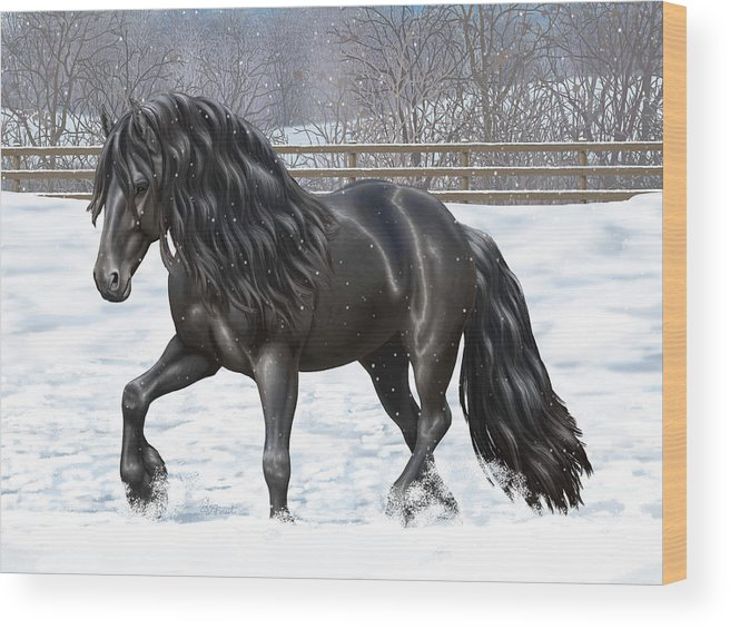 Horses Wood Print featuring the painting Black Friesian Horse In Snow by Crista Forest