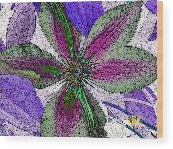 Flowers Wood Print featuring the digital art Bliss by Michele Caporaso