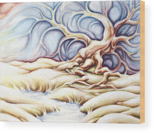 Acrylic Painting Wood Print featuring the painting Blonde And Blue by Jennifer McDuffie