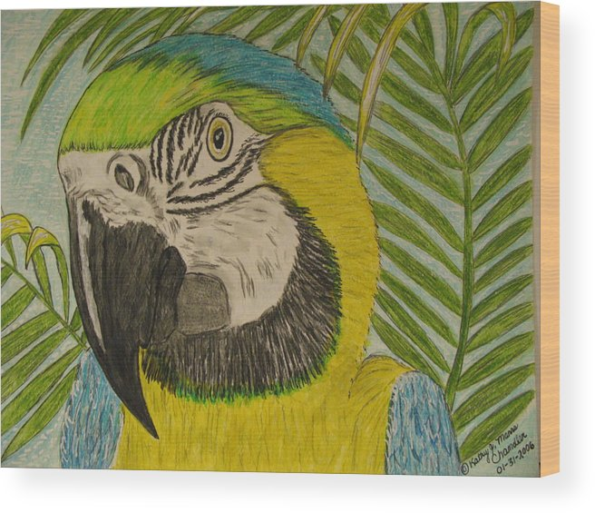 Macaw Wood Print featuring the painting Blue And Gold Macaw Parrot by Kathy Marrs Chandler