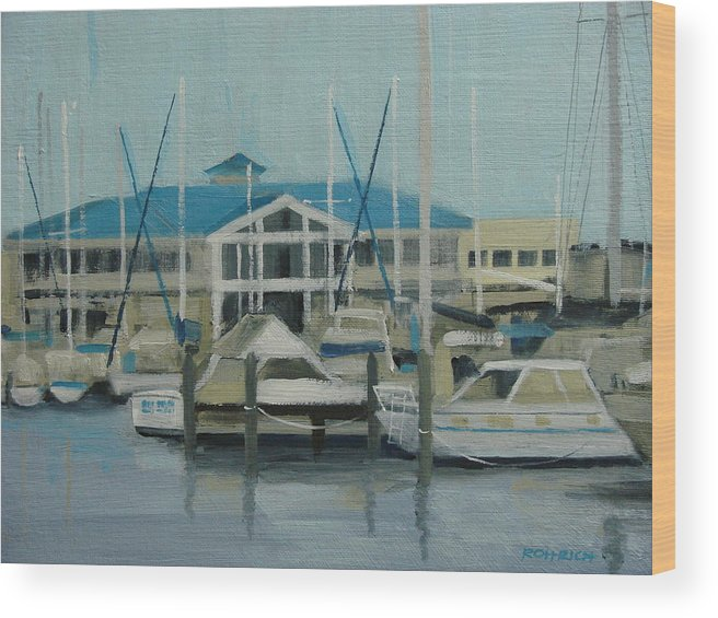 Boats Yachts Wood Print featuring the painting Blue Marina by Robert Rohrich