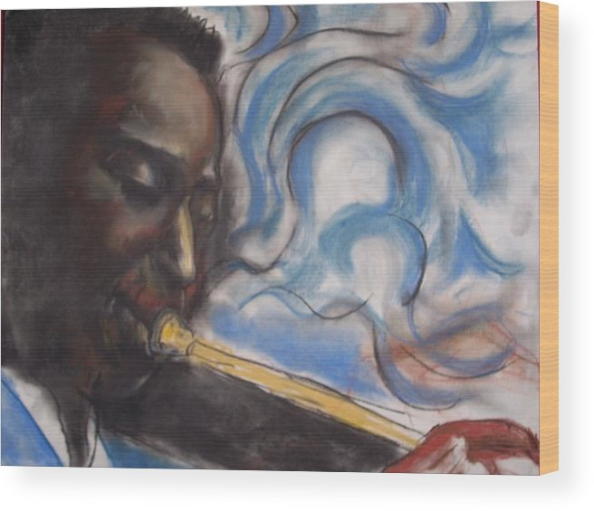 Miles Davis Wood Print featuring the print Blue Miles by Darryl Hines