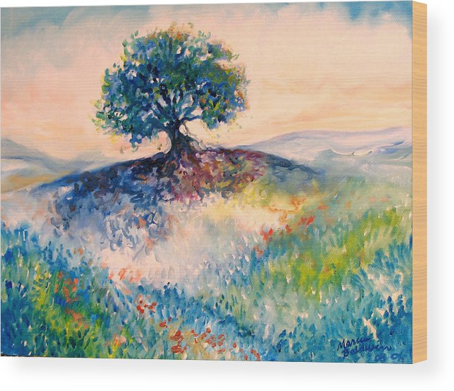 Tree Wood Print featuring the painting Bluebonnet Hill by Marcia Baldwin