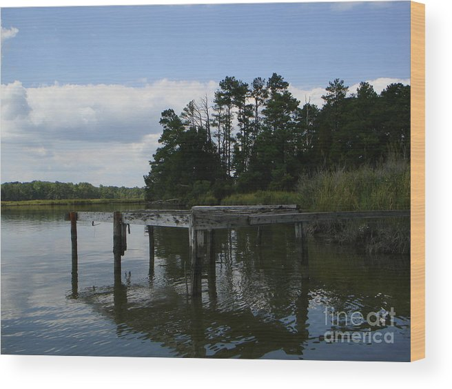 Boat Doc Wood Print featuring the photograph Boat Dock On The Bay by PJ Cloud