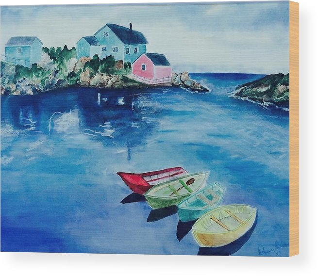 Water Wood Print featuring the painting Boaters Paradise by Denise Mc Nellis
