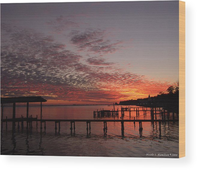 Boathouse Wood Print featuring the photograph Boathouse Sunset by Nicole I Hamilton