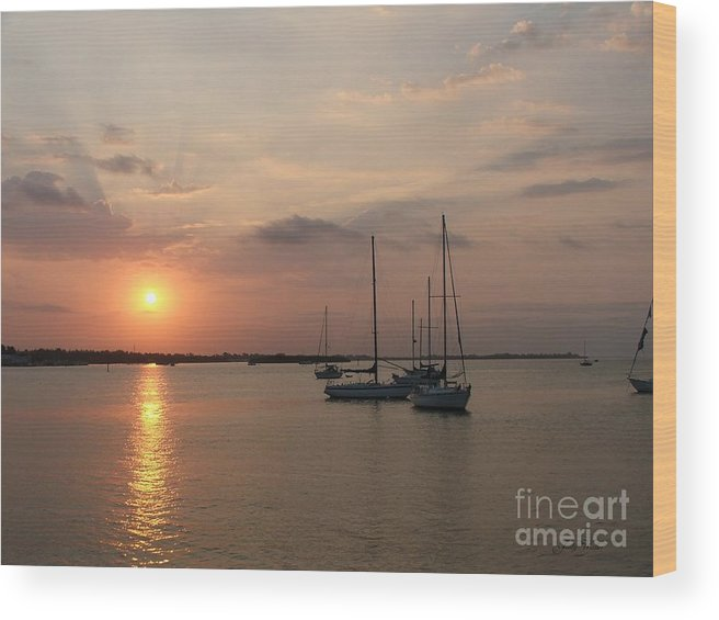 Sunrise Wood Print featuring the photograph Boats At Sunrise by Judy Waller