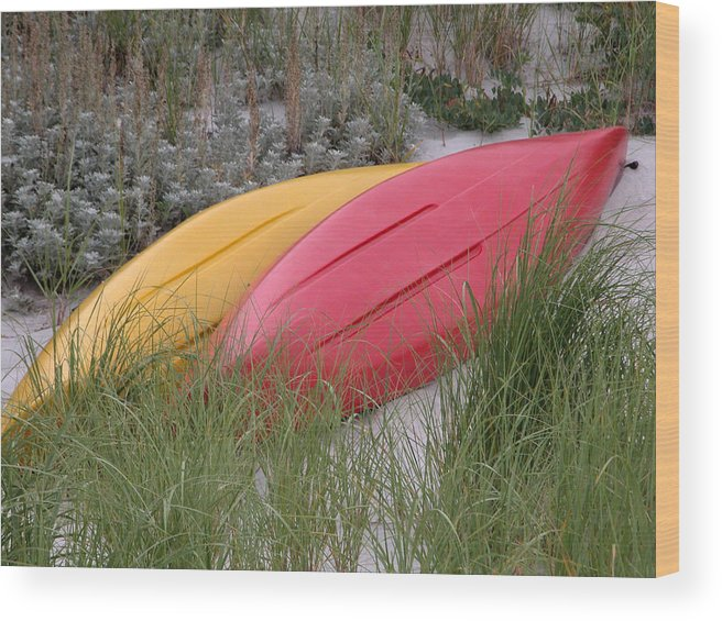 Boat Wood Print featuring the photograph Boats On The Beach In Ma by Mary Pearson