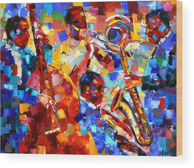 Jazz Wood Print featuring the painting Bold Jazz Quartet by Debra Hurd