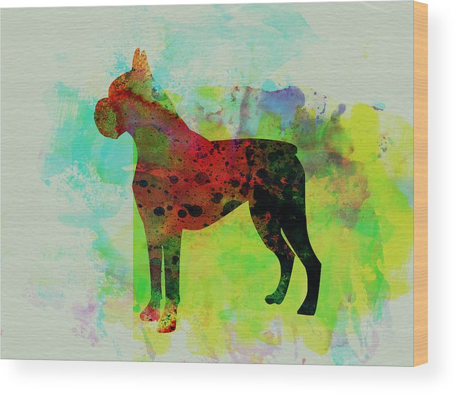 Boxer Wood Print featuring the painting Boxer Watercolor by Naxart Studio