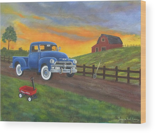 Wood Print featuring the painting Boys Toys by Sharon Coray