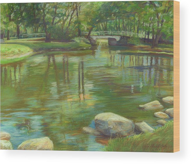 Mcgrath Wood Print featuring the painting Bradford Ma College Pond by Leslie Alfred McGrath