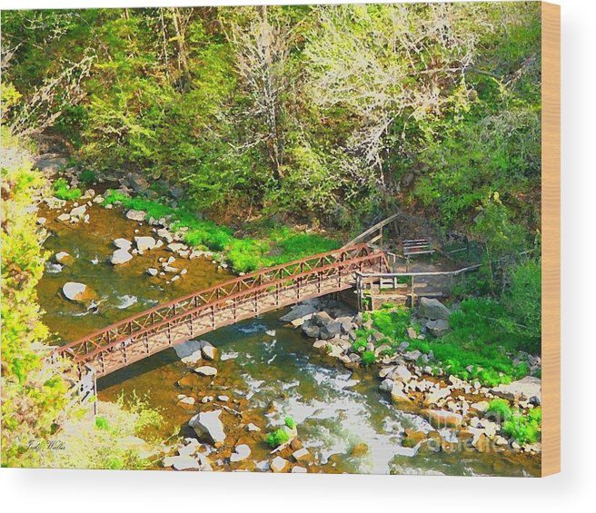 Rocks Wood Print featuring the photograph Bridge At The Falls by Judy Waller