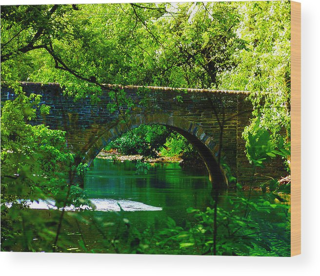 Philadelphia Wood Print featuring the photograph Bridge Over The Wissahickon by Bill Cannon