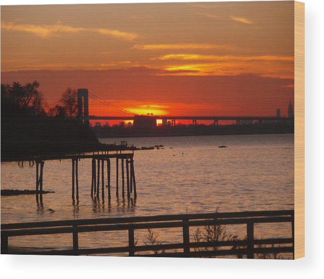 Photography Wood Print featuring the photograph Bridge Sunset by Bill Ades