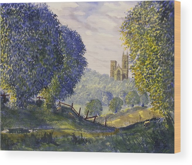 Glenn Marshall Yorkshire Artist Wood Print featuring the painting Bridlington Priory From Woldgate On The Hockney Trail by Glenn Marshall