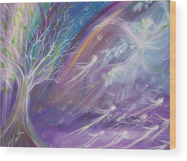 Angels Wood Print featuring the painting Bringing Life To The Nations by Wendy Smith