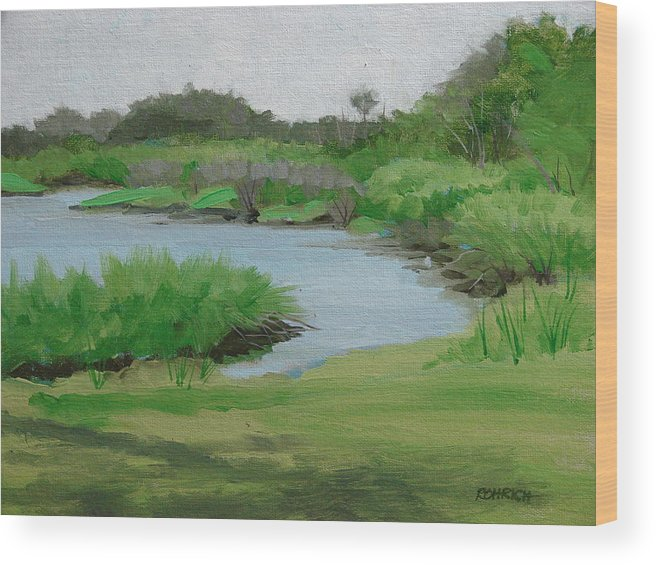 Landscape Wood Print featuring the painting Bulow Woods Creek by Robert Rohrich