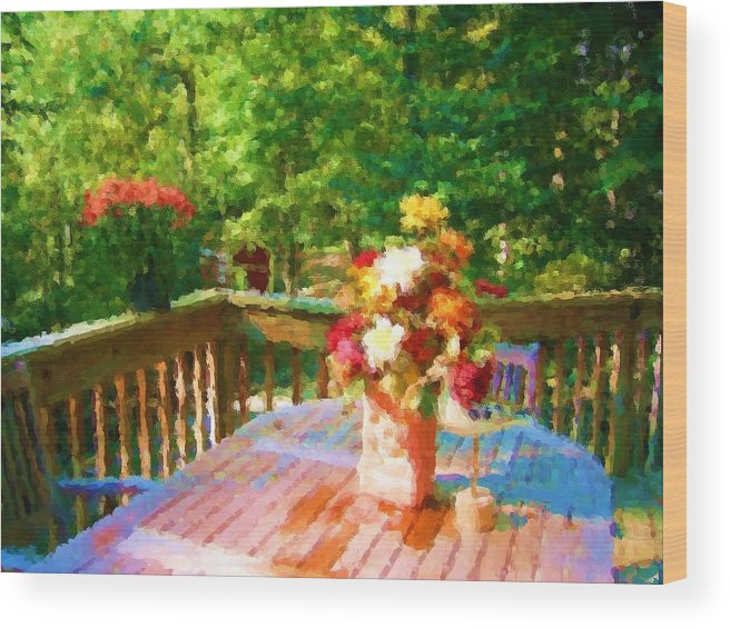 Wood Print featuring the mixed media Bumble Deck Flowers by Jonathan Galente