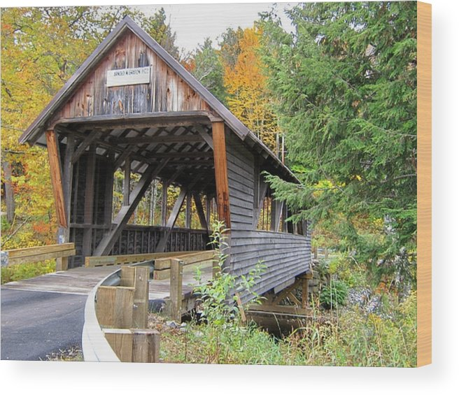Nh Wood Print featuring the photograph Bump Covered Bridge by Wayne Toutaint