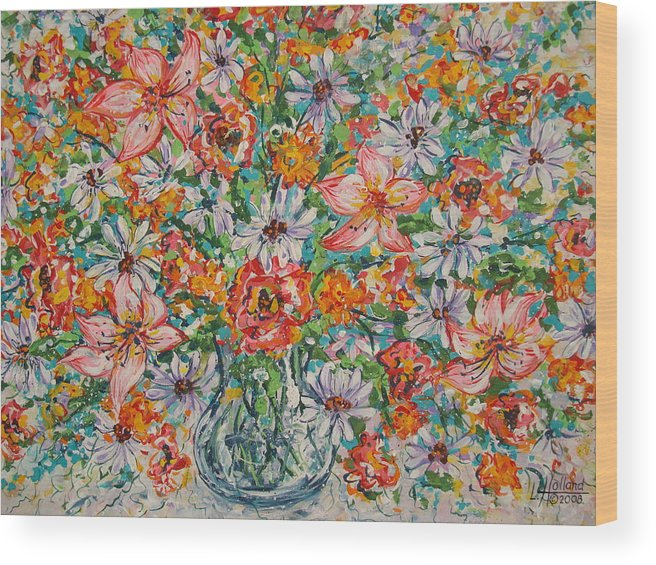 Flowers Wood Print featuring the painting Burst Of Flowers by Leonard Holland