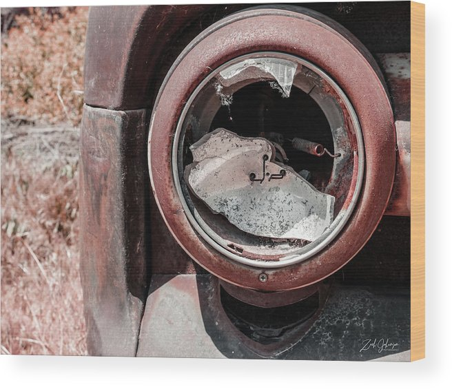 Busted Headlight Wood Print featuring the photograph Busted Headlight by Zach Johanson