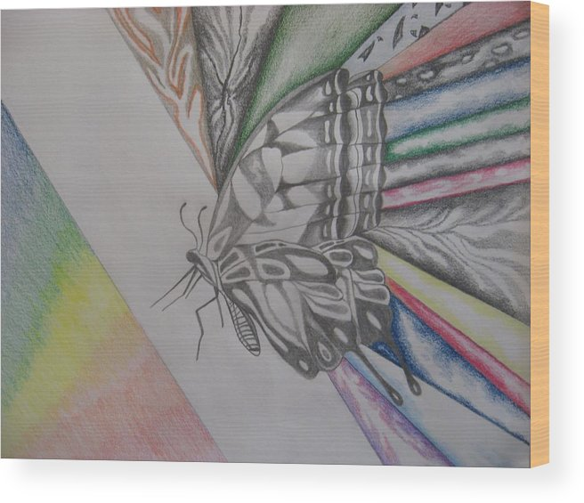 Butterfly Wood Print featuring the drawing Butterfly Light by Theodora Dimitrijevic