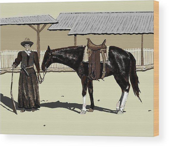 Cowgirl Wood Print featuring the digital art Calamity Jane by Carole Boyd